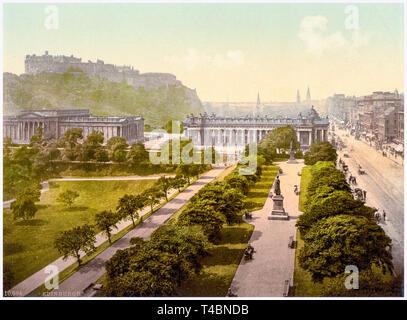 Princes Street and Edinburgh castle, Scotland, hand coloured vintage photograph, c. 1890-1900 - Stock Image