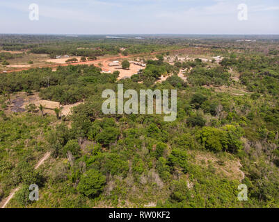 Mato Grosso State, Brazil. Aerial view of Piaraçu Kayapo Village. - Stock Image