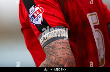 Crawley's Captain Sonny Bradley during the Sky Bet League 2 match between Crawley Town and Oxford United at the Checkatrade.com Stadium in Crawley. April 9, 2016. James Boardman / Telephoto Images +44 7967 642437 - Stock Image