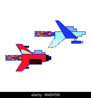 Videogame pixelated spaceship flying isolated blue lines - Stock Image