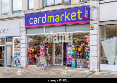A Cardmarket budget card and gift shop in Bromley High Street, South London. - Stock Image