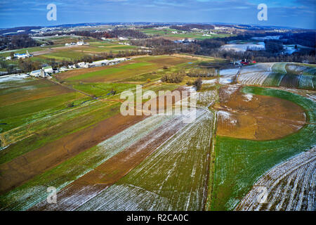 Aerial View Amish Farmland in Pennsylvania - Stock Image
