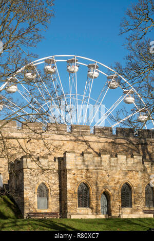 The Big Wheel at Lincoln Christmas Market, seen from Lincoln castle, Lincolnshire, England, UK - Stock Image