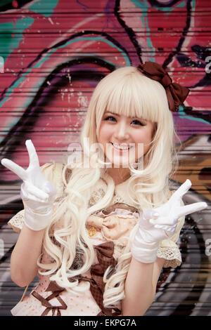 Portrait of Cosplay girl, Takeshita St, Harajuku, Tokyo, Japan - Stock Image