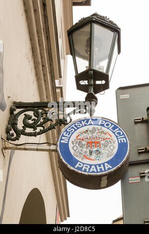 Czech Republic, Prague. Police station sign. Credit as: Wendy Kaveney / Jaynes Gallery / DanitaDelimont.com - Stock Image