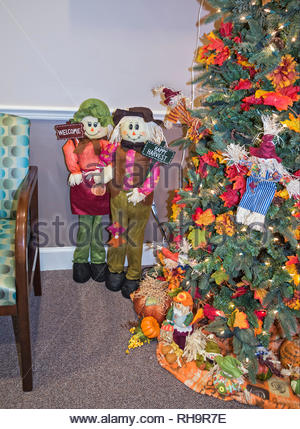 Harvest Tree sits decorated in the corner of a doctor's office. - Stock Image