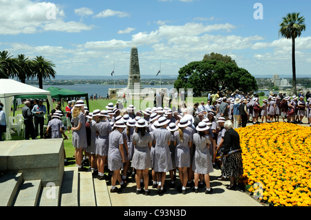 A group of schoolgirls at ceremony to commemorate Remembrance Day (Armistice Day), 11th November 2011, at Western - Stock Image