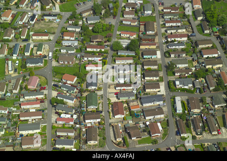 Aerial view of a mobile home park, also known as a caravan park or a trailer park - Stock Image