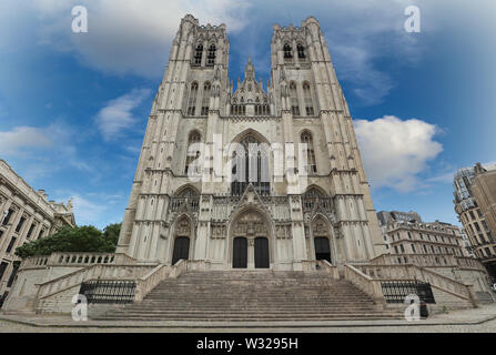 Cathedral of St. Michael Roman Catholic church on the Treurenberg Hill in Brussels. - Stock Image