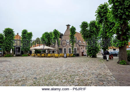 Market square in the center of Vesting Bourtange, the star-shaped fortress in Groningen Province, The Netherlands - Stock Image