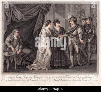 The Conclusion of the Treaty of Troyes, Henry V, King of England, Receives the introduction of Catherine of Valois in Marriage,1788 - Stock Image