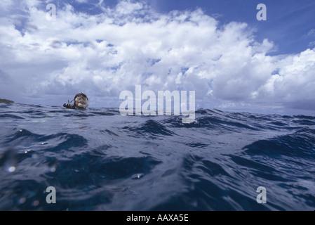 scuba diver adrift in open water - Stock Image