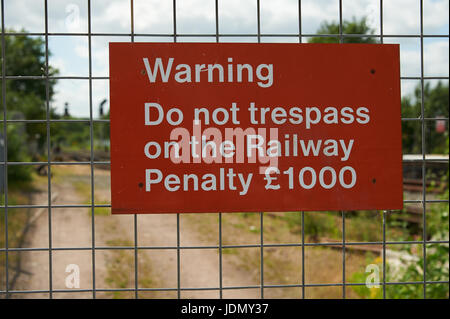 Red rectangular warning sign for railway network - Stock Image