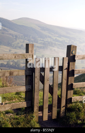 Wooden gate in the Peak District National Park Derbyshire UK England GB Great Britain - Stock Image