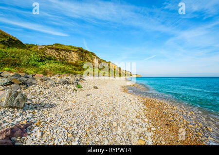 Charlie Sector at Omaha Beach, site of the D Day invasion on the Normandy Coast at Vierville-Sur-Mer France - Stock Image