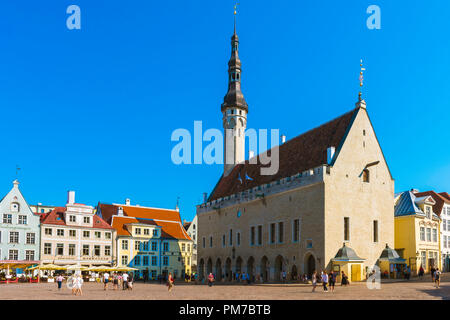 Tallinn Town Hall Square, view in summer of the Town Hall and main square in the medieval Old Town quarter in Tallinn, Estonia. - Stock Image