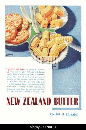 1939 UK Magazine New Zealand Butter Advert - Stock Image