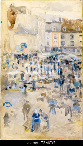 Variations in Violet and Grey: Market Place, Dieppe, painting by James McNeill Whistler, 1885 - Stock Image