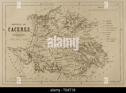 Map of the province of Caceres, Extremadura, Spain. Cronica General de España, Historia Ilustrada y Descriptiva de sus Provincias. Extremadura, 1870. - Stock Image