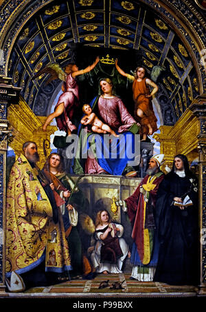 Pala Santa Giustina by Romani Girolamo called Romanino (1484-1487 / 1559-1561) Italy Italian ( On October 7th of the year 304 it is the day of the martyrdom of Santa Giustina. While the famous Venetian noblewoman is in Padua, her homeland, the cruel emperor Maximian arrives there, who had a court set up in Campo Marzio to execute the believers. Giustina, while hurrying to visit the servants of God, is surprised by the Roman soldiers at Pontecorvo and brought before Massimiano. ) - Stock Image