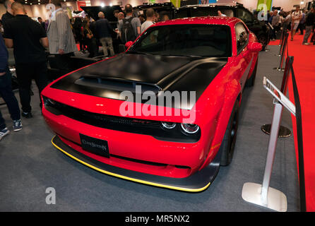 Three-quarter front view of a Dodge Challenger  SRT Demon, on the Clive Sutton Stand, at the 2018 London Motor Show - Stock Image