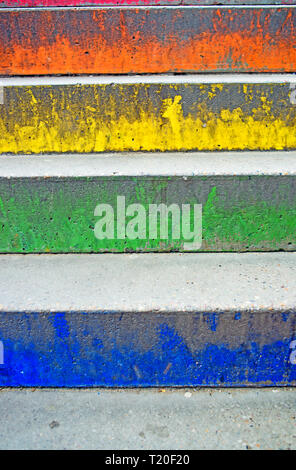 Blue, Green, Yellow and Orange Steps - Stock Image