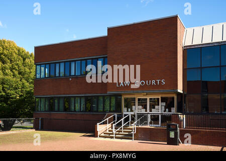 The outside of South Cheshire Magistrates Court in Crewe town centre UK - Stock Image