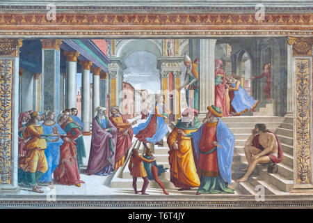 The Presentation at the Temple, Domenico Ghirlandaio, 1485-1490, Cappella Tornabuoni, Tornabuoni Chapel, Basilica di Santa Maria Novella, Church of Sa - Stock Image
