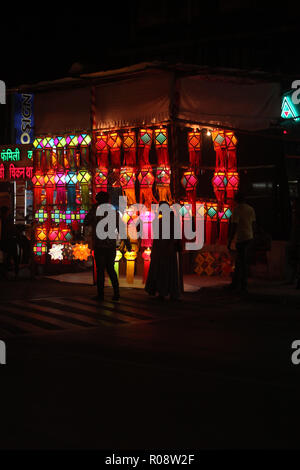 Pune, India - November 2018: Indian people shopping for traditional lanterns for the Diwali festival in India. - Stock Image