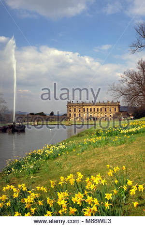 Chatsworth House and the Emperor fountain in Spring, near Bakewell, Derbyshire, UK. - Stock Image