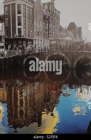 Amsterdam, past and present - Stock Image