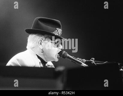Elton John performing at the National Exhibition Centre, Birmingham, on his Reg Strikes Back Tour. 17th May 1989. - Stock Image