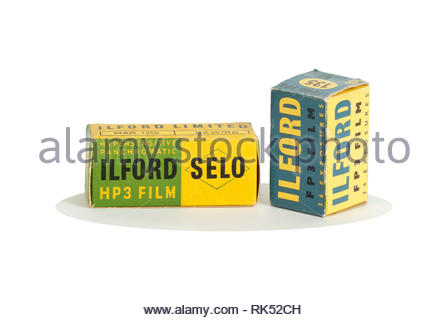 Vintage Ilford film cartons. (1950s, 1960s) - Stock Image