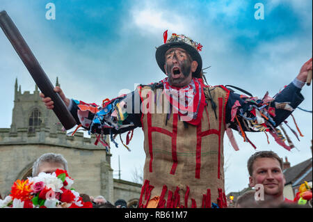 Haxey, Lincolnshire, England, UK – The Fool participates in the traditional ancient custom of The Haxey Hood since the 14th Century. - Stock Image