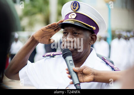 Abidjan, Ivory Coast - August 3, 2017: greeting and presentation of the Major Officer at the shoulder pad ceremony for students leaving the Maritime A - Stock Image