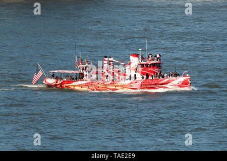 The fireboat John J. Harvey on the Hudson River at the start of Fleet Week 2019. May 22, 2019 - Stock Image