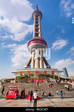 1 December 2018: Shanghai, China - Entrance to the Oriental Pearl Tower in the Pudong district, a radio and TV broadcasting tower which is also an obs - Stock Image