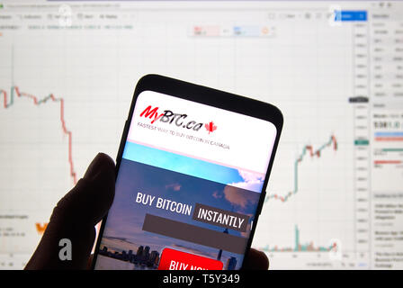 MONTREAL, CANADA - APRIL 26, 2019: MyBTC.ca cryptocurrency exchange logo and application on Android Samsung Galaxy s9 Plus screen in a hand over a lap - Stock Image