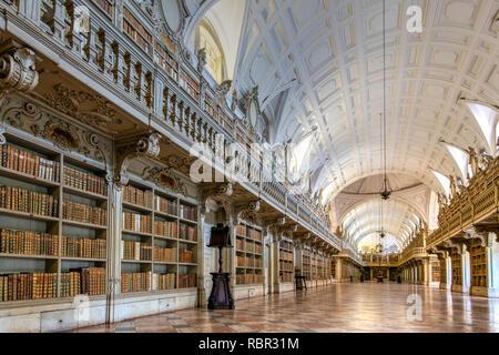 Library, Palace of Mafra or Palacio Nacional, Mafra, Lisbon, Portugal - Stock Image