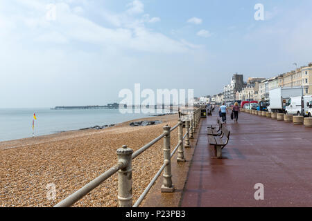 Promenade and Beach, Hastings, East Sussex, England , UK - Stock Image