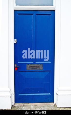 Deep Blue Wooden Door - Stock Image