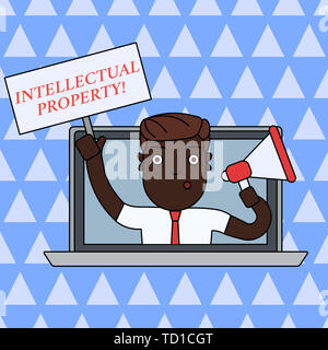 Handwriting text writing Intellectual Property. Conceptual photo Protect from Unauthorized use Patented work or Idea Man Speaking Through Laptop Scree - Stock Image