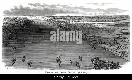 The Brazilian fleet halts on the Parana river, just before Curupayty. - Stock Image