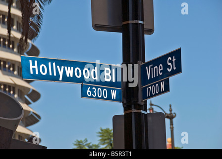 Hollywood and Vine Street sign Hollywood Blvd. Los Angeles CA California USA clear day blue sky - Stock Image