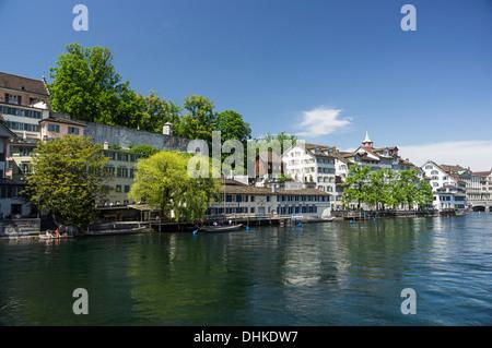 Riverside of Limmat, Schipfe, Lindenhof, Zurich, Switzerland - Stock Image