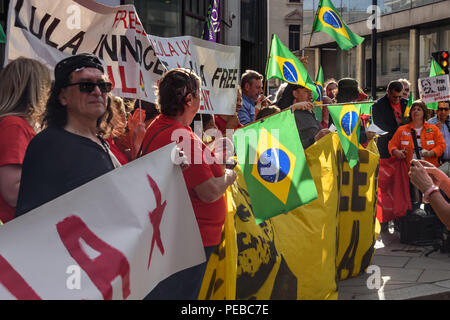 London, UK. 13th August 2018.  Brazilians protest outside the Brazilian embassy calling for the release of Luiz Inacio Lula da Silva, a former trade union leader who was President of Brazil from 2003-11 to enable him to stand for election again in October. Credit: Peter Marshall/Alamy Live News - Stock Image