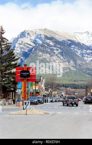 CANMORE, CANADA - OCT. 26, 2018: A sign on the downtown Main street in Canmore Kananaskis of the Canadian Rockies. As a gateway to Banff National Park - Stock Image
