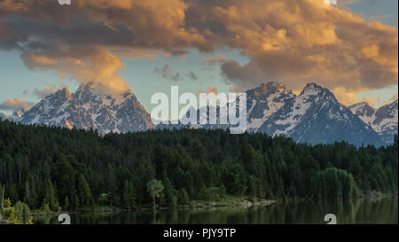 Clouds Hover over Tetons Range with Pine Trees in Foreground - Stock Image