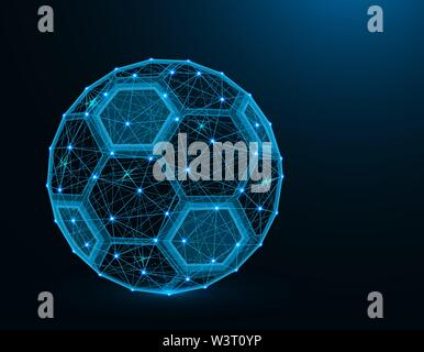 Soccer ball low poly model, Sport game abstract graphics, football polygonal wireframe vector illustration on dark blue background - Stock Image