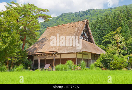Myozen-ji Temple with thatched roof in Ogimachi gassho style village of Shirakawa-go district. World Heritage Site - Stock Image